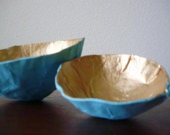 Two Paper Mache Trinket Bowls
