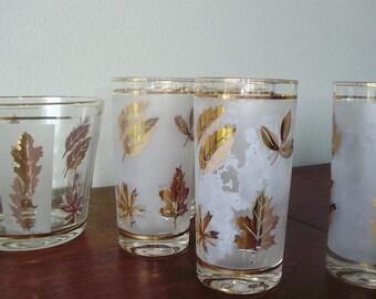 Gold Leaf Pattern Cocktail Set