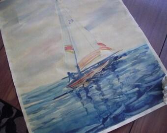 Original Watercolor Sailboat