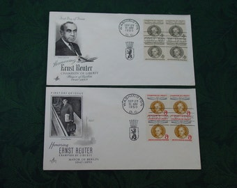 "Vintage Set of 2 United States U.S. Mail Envelope Stamps "" First Day Covers "" "" Champion of Liberty Ernst Reuter Mayor Berlin "" Germany 1959"