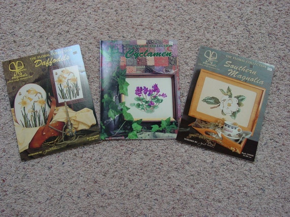Janet Powers  Floral Collection 3 Cross Stitch Patterns Daffodils, Southern Magnolia,  Cyclamen