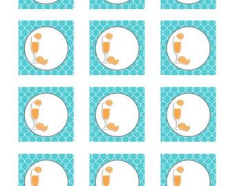Monograms & Mimosas Printable Gift Tags Cupcake Food Toppers
