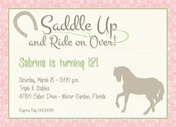 Saddle Up Printable Party Invitation - Horseback, Cowgirl, Western Girl Card