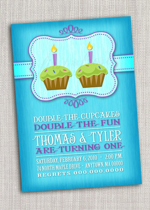 twins first birthday party invitation  cupcake, twins, first, Birthday card