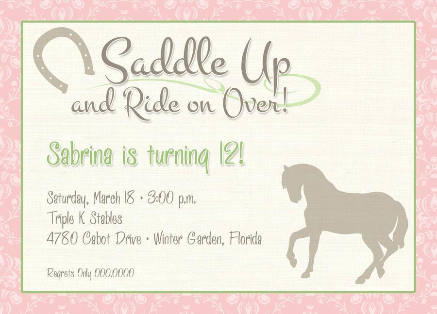Saddle Up Printable Party Invitation Horseback Cowgirl