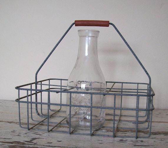 Vintage Metal Milk Carrier With One Milk Bottle