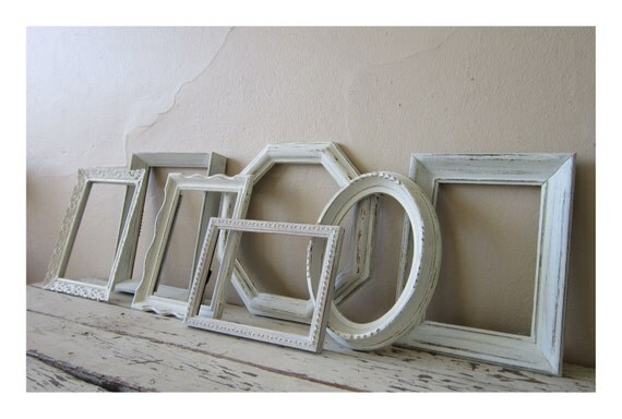 Frame grouping - French Country - Shabby Cottage  -  Frame set - Home decor - Paris Chic  - Vintage - wall decor
