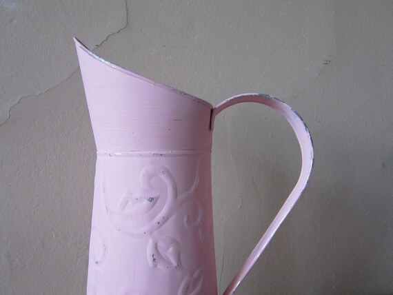 Metal Can - Pink Pitcher - Cottage Chic - Shabby and chic home decor