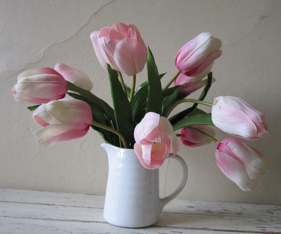 Floral Arrangement  - TULIPS - Cottage Chic - shabby and chic home decor