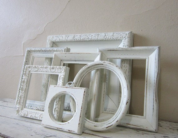 FrameSet - French Country - Frame grouping - Shabby and Chic  - Cottage Home decor - Paris Chic  - Vintage - wall decor