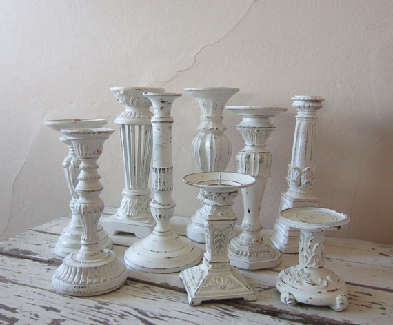 Candle holders - Candle sticks - Cottage chic - Shabby and chic - farmhouse- rustic wedding - home decor