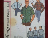 1963 Simplicity Men's Shirt Pattern, Neck 16, Sleeve 33-34-35, Very MADMEN or VLV