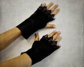 Steampunk Fingerless Gloves Black Leather Genuine Lambskin Womens Victorian Lace Vamp Punk - Last One - SALE