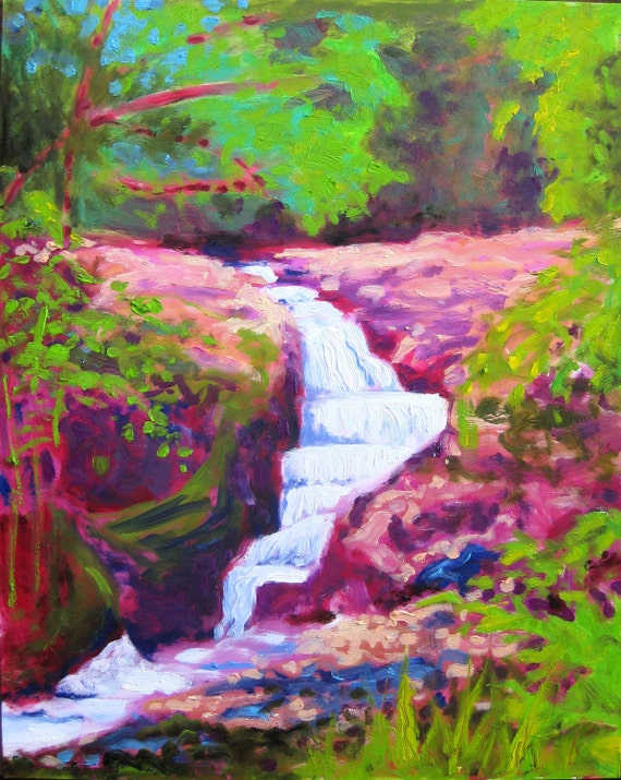 Maui Waterfall Painting - large impressionist landscape waterfall art oil painting Maui Art in delicate gold frame fauve