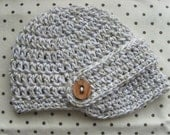 Premie/Newborn Visor and Buckle Hat in Neutral Birch