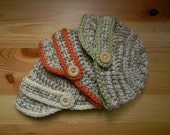 RESERVED Neutral Preemie/Newborn Triplet Visor Hat Set