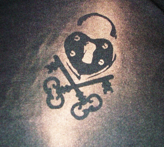 Pad Lock Heart Black Tee Shirt