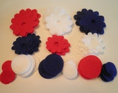 Large 64 Piece die cut Felt Flower Assortment in 3 Colors, Patriotic Combo, Red, White & Blue  Style No. 23