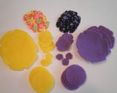 New 30 Piece Set  Felt & Fabric Flower Die Cuts Purple and Yellow