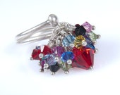 Original Kinetic Silver Ring.Red and Colorful Sparkle Swarovski Crystal Kinetic Adjustable Cocktail Ring.Anniversary.Valentine day gift idea