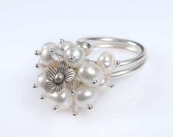 Pearl, Flower and Clear Swarovski Crystal Kinetic Ring. Bridal Jewelry. Statement Silver Ring. Anniversary Jewelry. Mothers Day Gift.