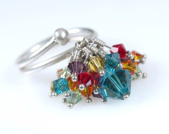 Turquoise and Colorful Swarovski Crystal Statment Ring. Silver Ring. Kinetic Jewelry. Anniversary ring. Holiday Gift idea. Mothers Day Gift