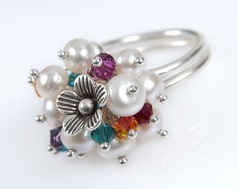 Pearl, Flower and Colorful Swarovski Crystal Kinetic Ring. Bridal Ring. Adjustable Silver Ring. Statement Ring. Anniversary Gifts Idea