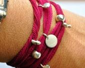 Silk Wrap bracelet. Pure silver disc in fabulous Raspberry
