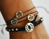 Leather One after the other bracelet with hand stamped sterling silver Carpe Diem button clasp  Seize the day