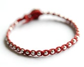 Friendship bracelet. Sterling silver. Red linen -simple bead bracelet