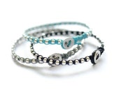 Best friends bracelet - Set of 3 -  BFF with sterling silver