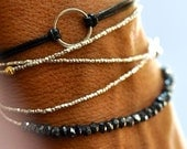 Triple wrap silver beads bracelet.  Pure silver faceted beads necklace
