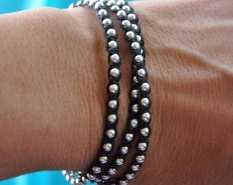 Silver Wrap bracelet - sterling silver- triple wrap - Irish linen cord