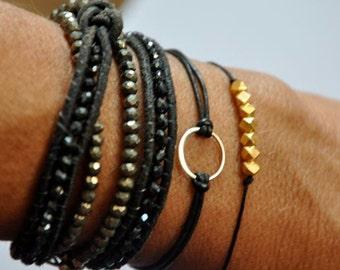 sterling silver circle bracelet. Leather Karma bracelet.