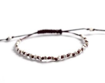 Silver beads hand knotted Chunky faceted on Maroon irish linen cord