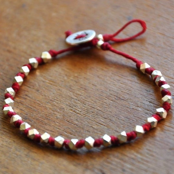 faceted fine silver nuggets hand knotted on RED waxed irish linen cord bracelet