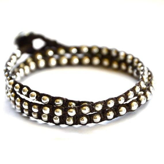 Silver beads macrame. Tripe wrap in Chocolate brown Irish linen cord
