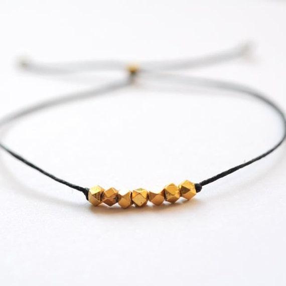 Wish bracelet - gold with Black Irish linen cord thread friendship bracelet