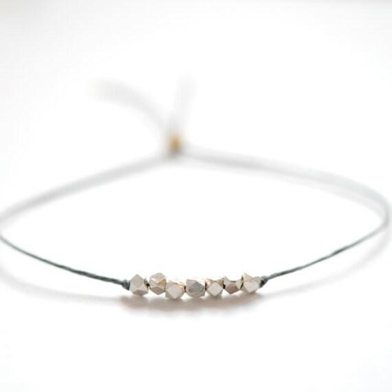 Wish bracelet.  Silver nugget beads on Slate Gray Irish linen cord -simple bead bracelet