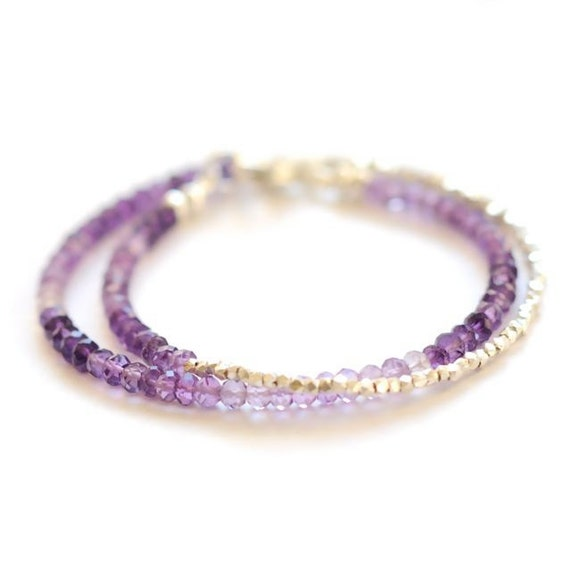 Double amethyst wrap bracelet with fine silver beads