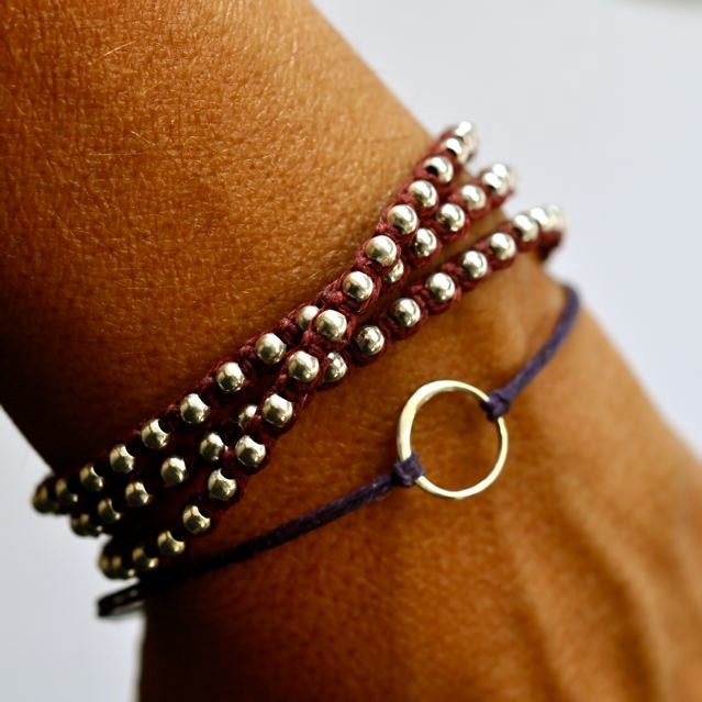 Good Karma bracelet. Sterling silver circle bracelet. Irish linen cord