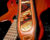 Leather Guitar Strap - Limited Edition Wave Design