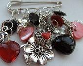 Handmade, OOAK, Red, Black, Silver, kiltpin, Brooch, pin, by kadootje77 on etsy