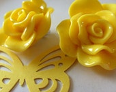 Yellow, banana yellow, sunshine yellow, Rose, Clip on, earrings, 3 cm, Summer, by NewellsJewels on etsy