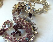 Dragon,Necklace, Brooch, Purple, lilac, silver, crystal, dragon necklace, by NewellsJewels on etsy