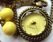 Vintage style, pocket watch, pendant, Pale yellow, 2 pairs earrings, owl, by NewellsJewels on etsy