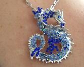 Gorgeous, Dragon,Necklace, Brooch, BLUE, silver, Swarovski, crystal, by NewellsJewels on etsy