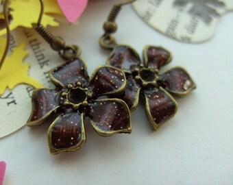Warm chocolate brown, Bronze, Burgundy, Sparkly, Enamel, Flower, earrings, by NewellsJewels on etsy