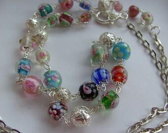 Bohemian, OOAK, Silver, pastel, Lamp work glass, long, short, necklace, earrings, by NewellsJewels on etsy