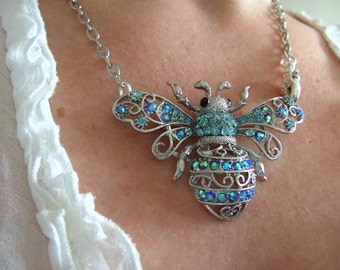 Blue, silver, large, BEE, feature necklace, statement necklace, sparkly, by NewellsJewels on etsy
